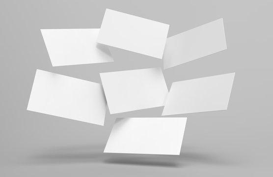 Blank white 3d visiting card template 3d render illustration for mock up and design presentation.