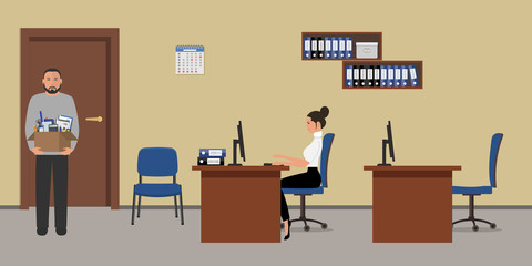 Office room in a beige color. Young woman is sitting at a table, a man is standing with a box of stationery near the door. There is a brown furniture and blue chairs in the image. Vector illustration