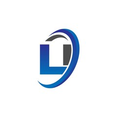 Obraz vector initial logo letters li with circle swoosh blue gray - fototapety do salonu