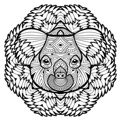 Animal concept. Line design. The head of a Koala. Monochrome ink drawing with tribal patterns. Zenart. Coloring book for adults. T-shirt, bag design