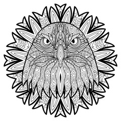 Animal concept. Line design. The head of a eagle. Monochrome ink drawing with tribal patterns. Zenart. Coloring book for adults. T-shirt, bag design