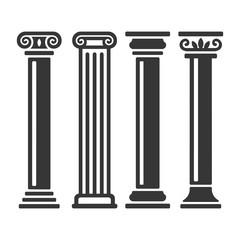 Ancient Columns Icon Set. Vector
