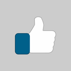 Like icon in trendy flat style with shadow, Thumb up, vector illustration