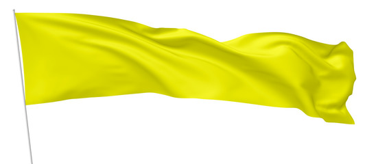 Long yellow flag on flagpole flying in wind.