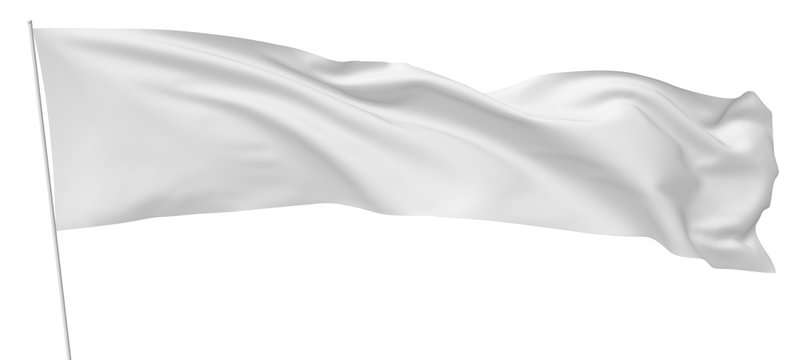 Long white flag on flagpole flying in wind.