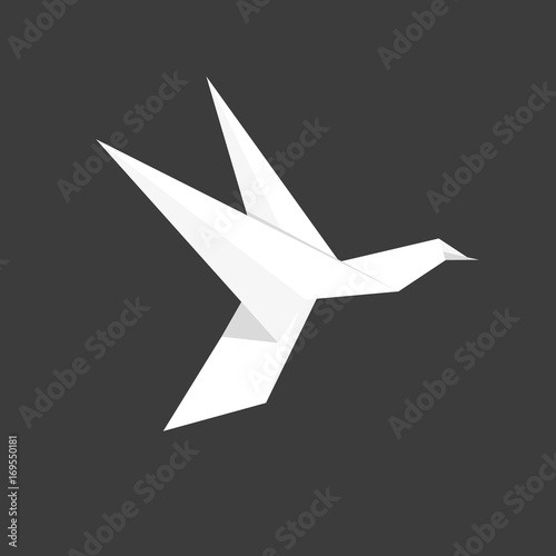 Japanese Paper Origami Humingbird Bird Symbol On Dark Background