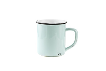 Isolated Teal or Blue Enamel Coffee Cup or Mug over a white background with clipping path included.
