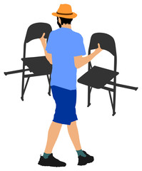 Delivery service moving transport,  worker carrying chairs vector illustration. Handyman job.