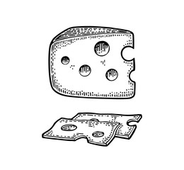 Pieces of Cheese and knife. Half round head and triangle of cheese.