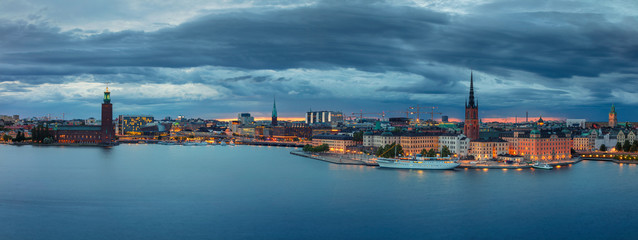 Stockholm. Panoramic image of Stockholm, Sweden during sunset.
