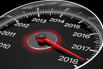 Conceptual 2018 New Year Speedometer. 3d Rendering