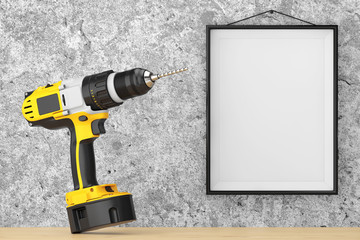 Yellow Rechargeable and Cordless Drill in front of Concrete Wall with Blank Frame. 3d Rendering