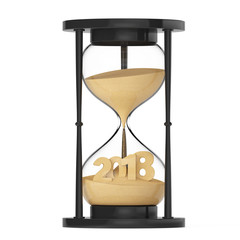 New 2018 Year Concept. Sand Falling in Hourglass Taking the Shape to 2018. 3d Rendering