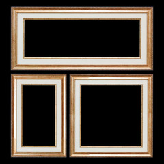 Set of Closeup Wooden Vintage Frames with Blank Space for Yours Design