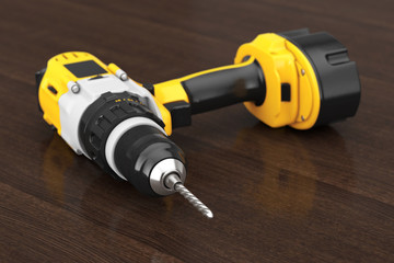Yellow Rechargeable and Cordless Drill. 3d Rendering