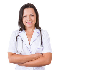 Smiling Medical Woman Doctor with Stethoscope and Copy Space for Yours Design