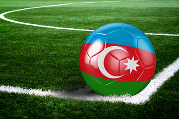 Azerbaijan Soccer Ball on Field at Night