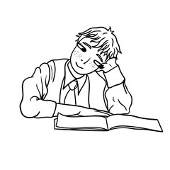 A contour drawing of a pensive student that looks into a notebook