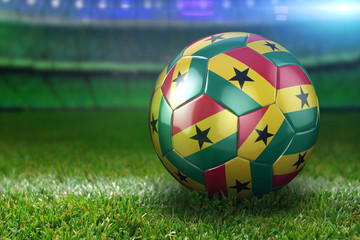 Ghana Soccer Ball on Stadium Green Grasses at Night
