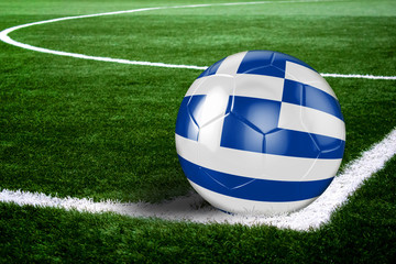 Greece Soccer Ball on Field at Night