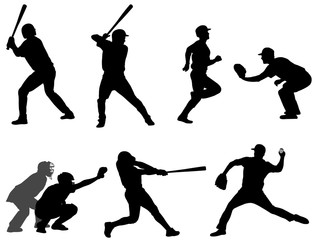 baseball silhouettes collection 3 - vector