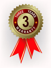 emblem of gold color with ribbons three-year warranty