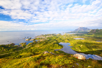 Fotomurales - Fishing village Kabelvag from above, Lofoten Islands, Norway