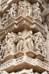 Erotic sculptures of temples of Khajuraho in India