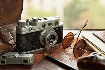 Vintage camera and exposure meter