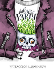 Watercolor fun illustration. Halloween card. Hand painted leather jacket with print. Skull with brains of worms. Rock style girl. Ready for print, poster, design, greeting, invitation cards.