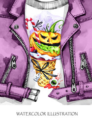 Watercolor fun illustration. Halloween. Hand painted leather jacket with print. Waffle cone, pumpkin with poisonous stuffing. Rock style girl. Ready for print, poster, greeting, invitation cards.