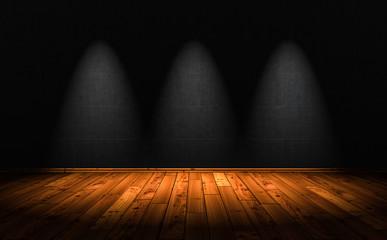 3D Illustration - wood floor background with 3 Spotlights