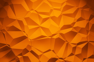 3D Illustration - orange brilliant triangle pattern Background 3