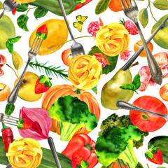 Seamless pattern, vegan food watercolor and photo collage
