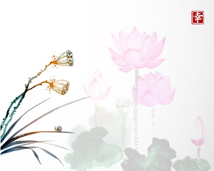 Dry lotus seed heads and lotus flowers on background. Traditional oriental ink painting sumi-e, u-sin, go-hua. Contains hieroglyph - happiness