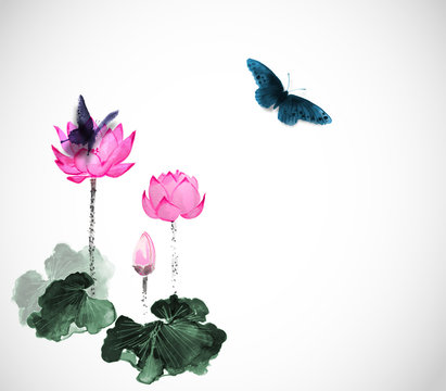 Big butterflies and lotus flowers on white. Traditional oriental ink painting sumi-e, u-sin, go-hua.