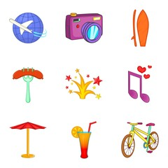 Firework icons set, cartoon style