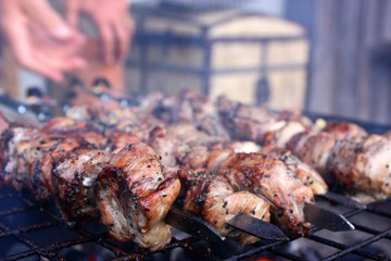 Close-up of a barbecue roasting on a hot grill