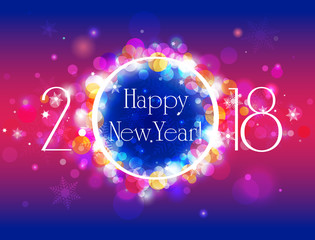 Happy New Year 2018 vector colorful background with well organized layers