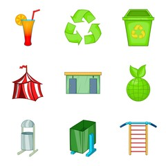 Tent icons set, cartoon style