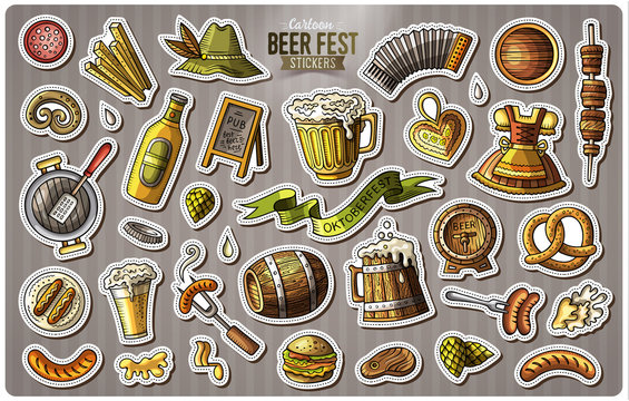 Set of Beer fest cartoon stickers