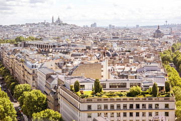 Aerial cityscape view on Monmartre hill during the sunny day in Paris