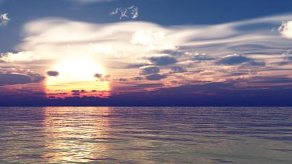 sunset or sunrise beautiful background, nature landscape 3d illustration, 3d rendering