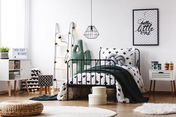 Scandi kids room with stool