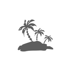 Palm trees silhouette island. Vector illustration
