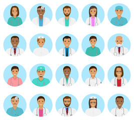 Doctors and nurses characters avatars set. Medical people icons of faces on a blue background.