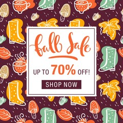 Autumn sale flyer template with lettering. Bright fall leaves. Poster, card, label, banner design.