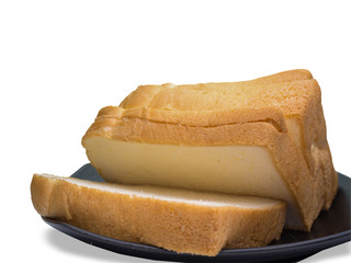 The cut loaf of bread.