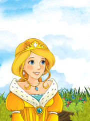 Cartoon fairy tale scene with a young little girl on the meadow smiling and looking somewhere - illustration for children