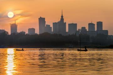 Sunset over Warsaw city  and Vistula river